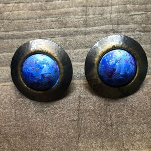 Hand Painted Celestial Shield Earrings